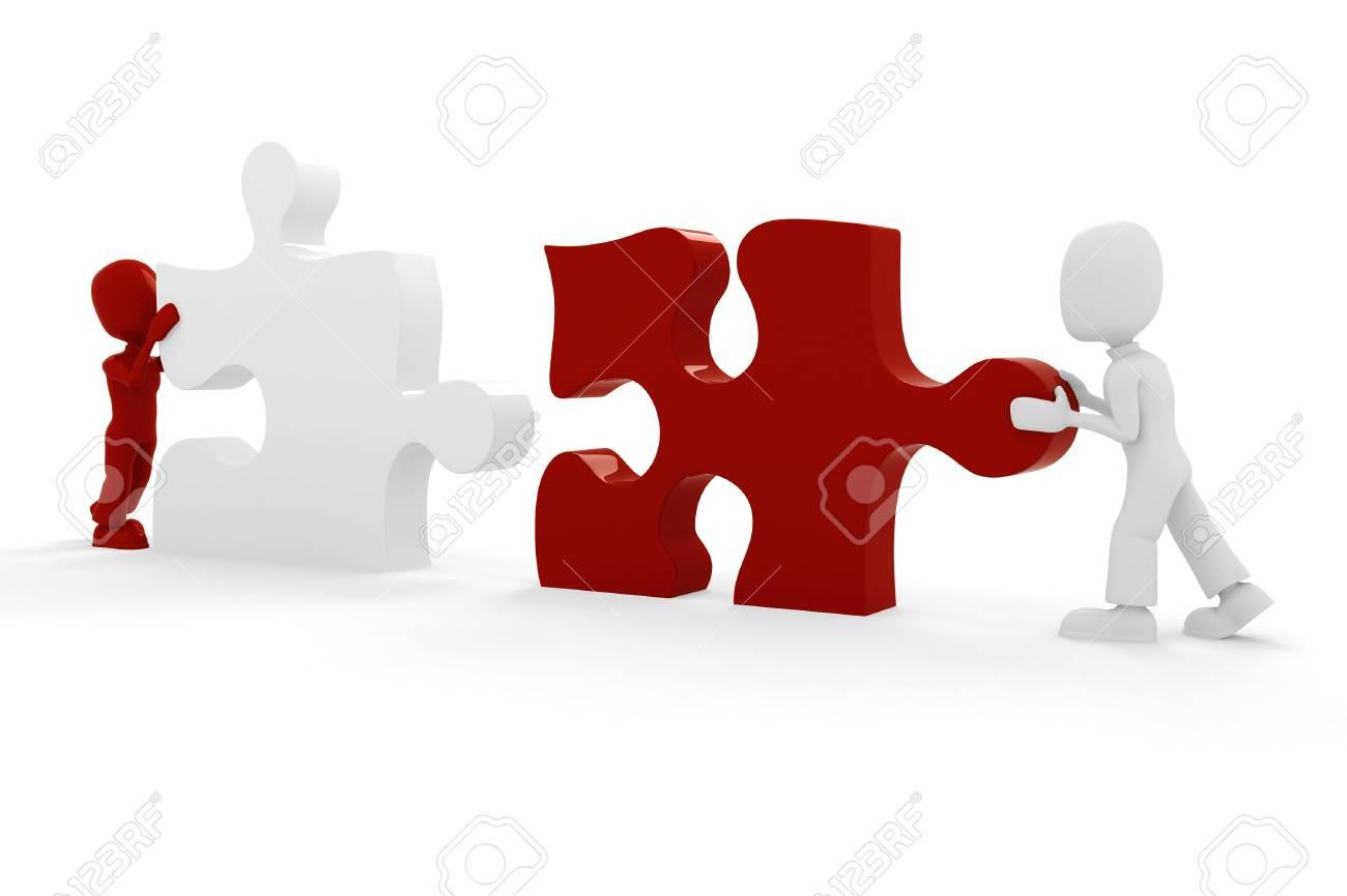 3d man puzzle join, concept Stock Photo - 8164523