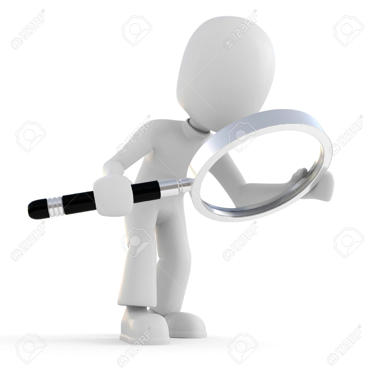 3d Man Holding A Magnifier Glass Stock Photo, Picture And Royalty ...