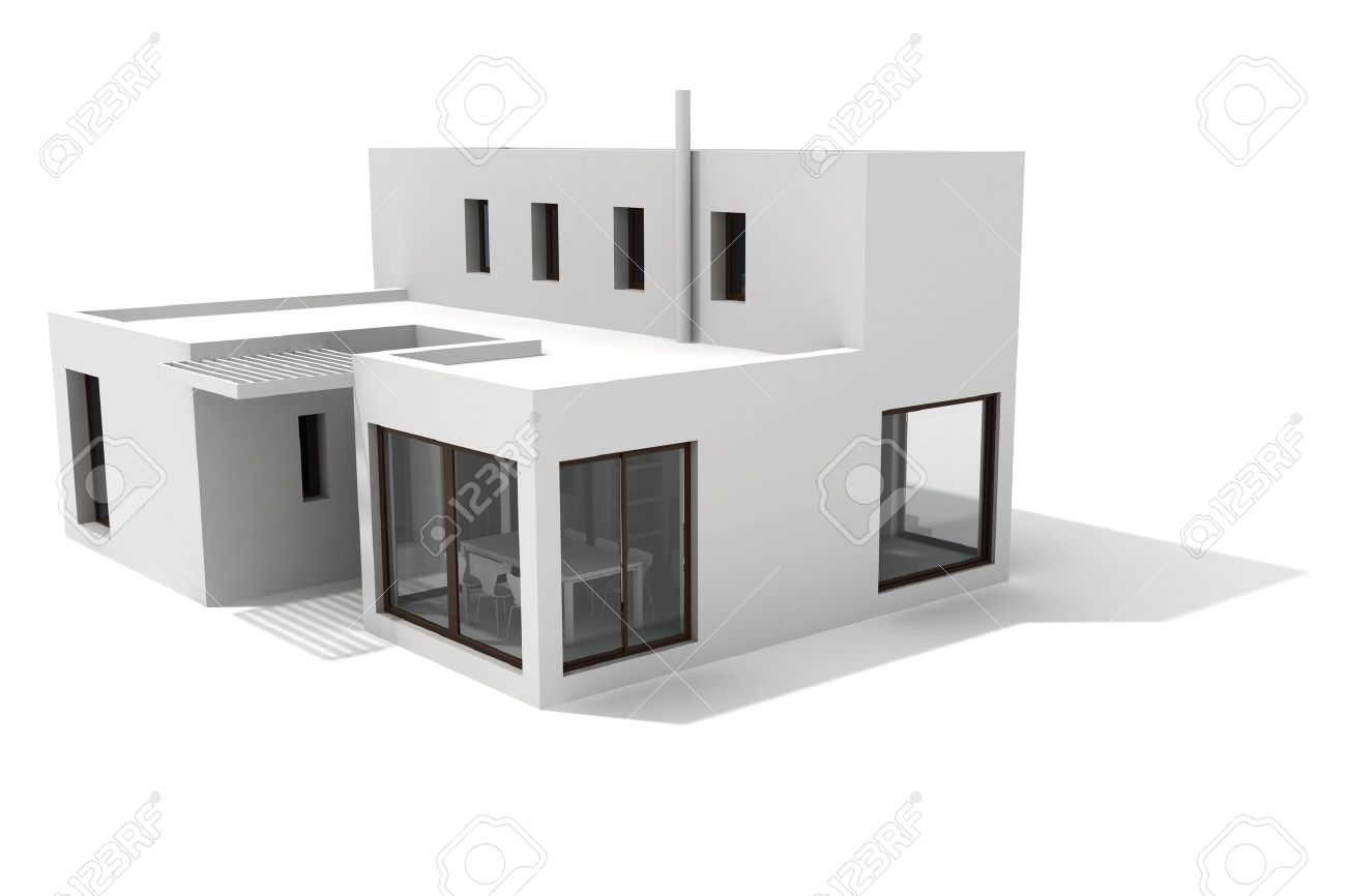 3d modern house on white background stock photo 8165291