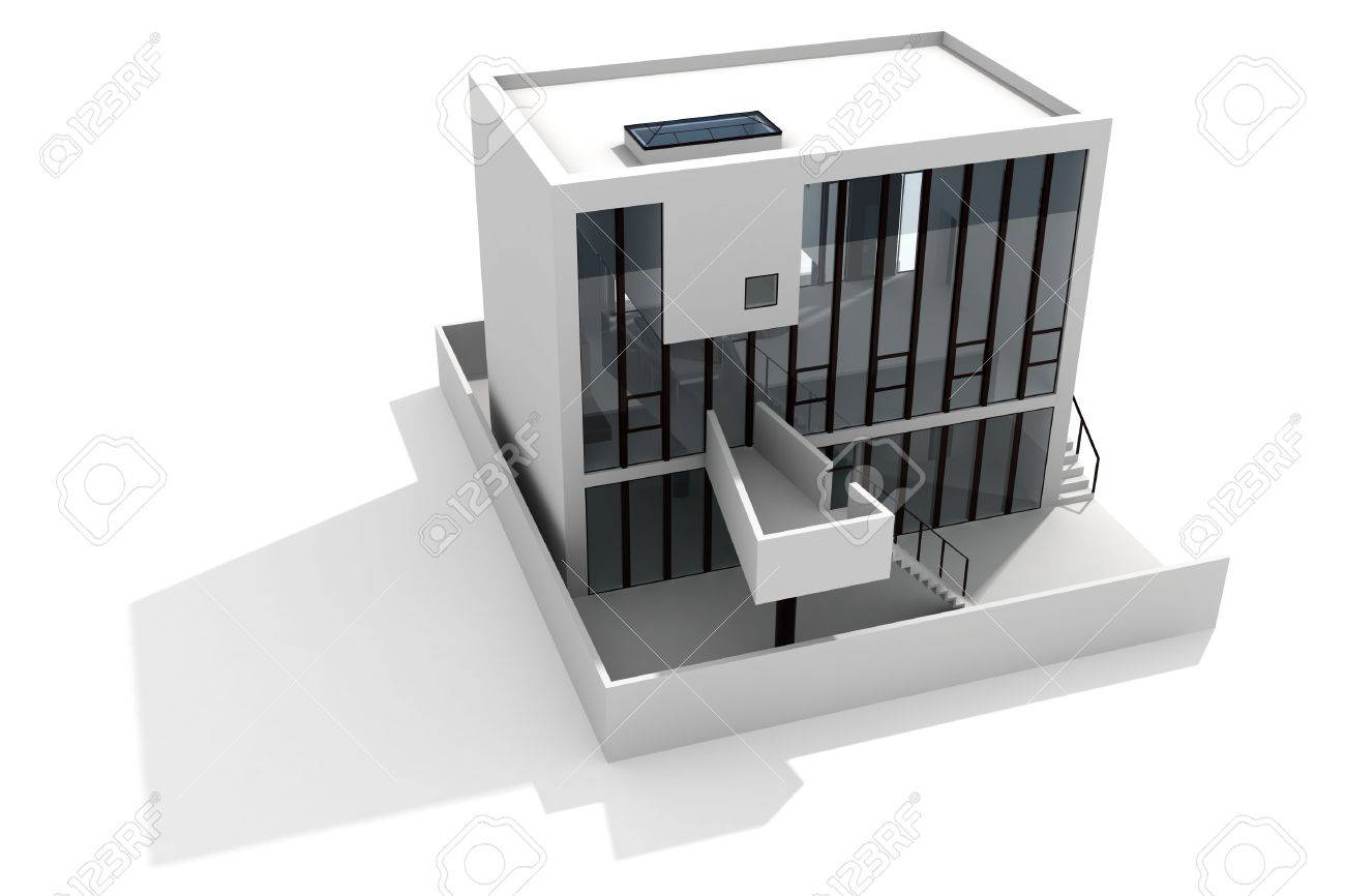 3d modern house, on white background Stock Photo - 8165269