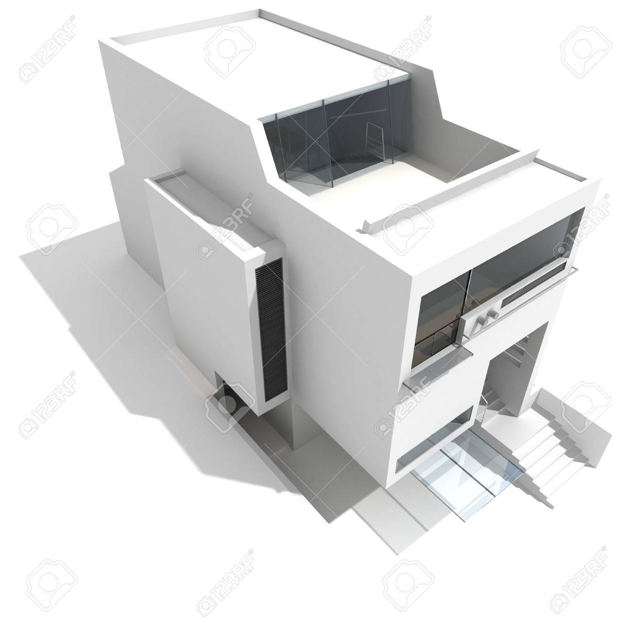 3d modern house on white background stock photo 8165177