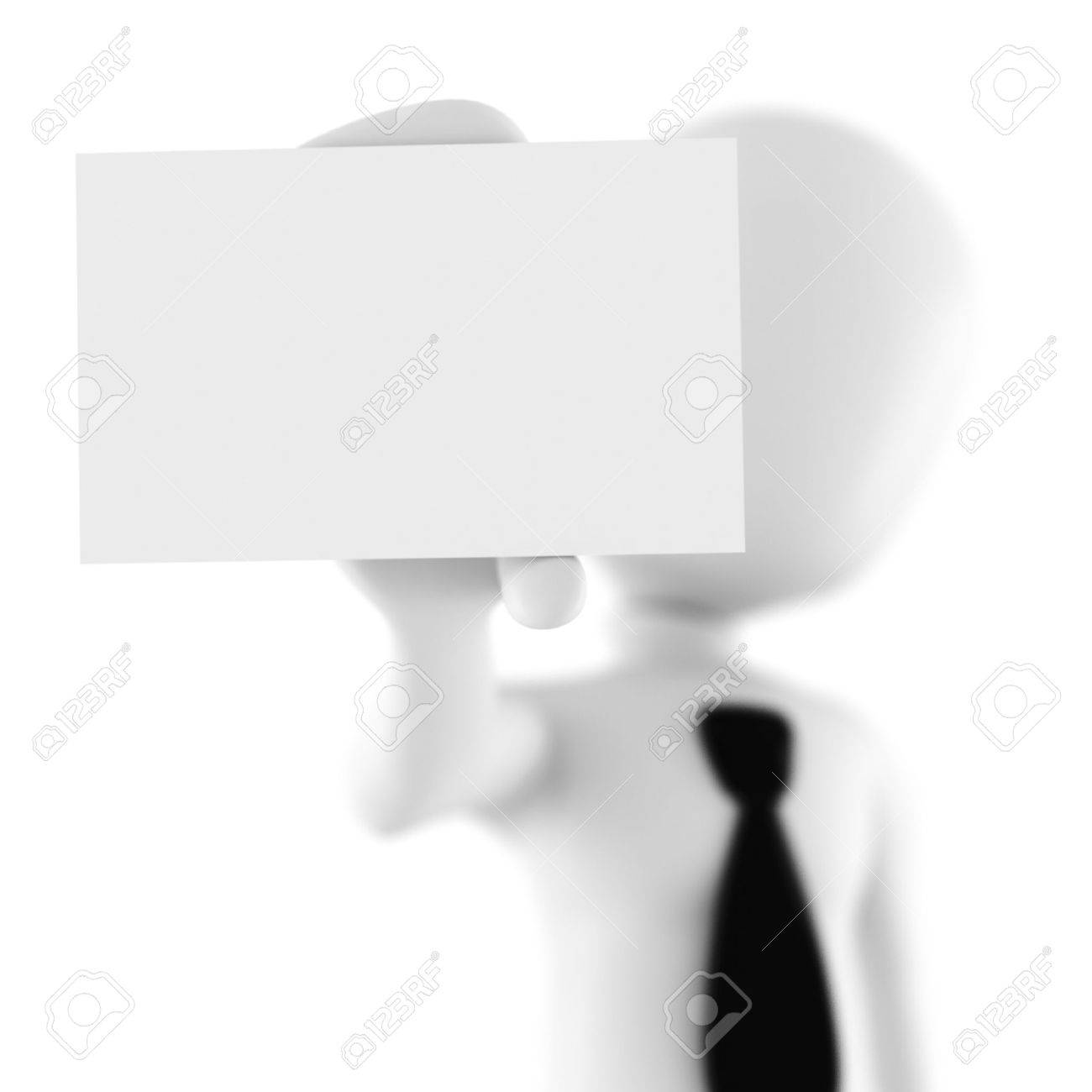 3d Man Showing A Blank Business Card Stock Photo, Picture And ...