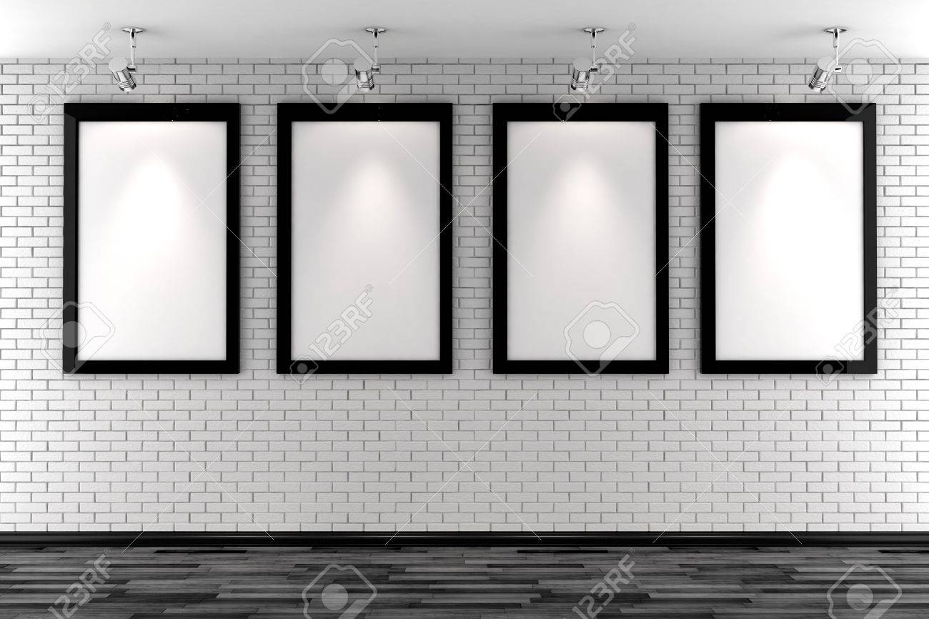 3d blank frames on a white brick wall Stock Photo - 8164680