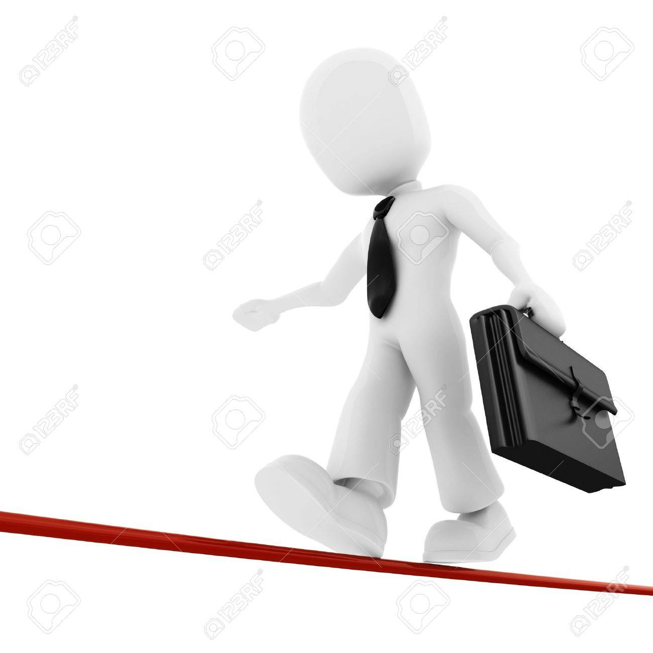 3d man, businessman walking on thin line Stock Photo - 8164641