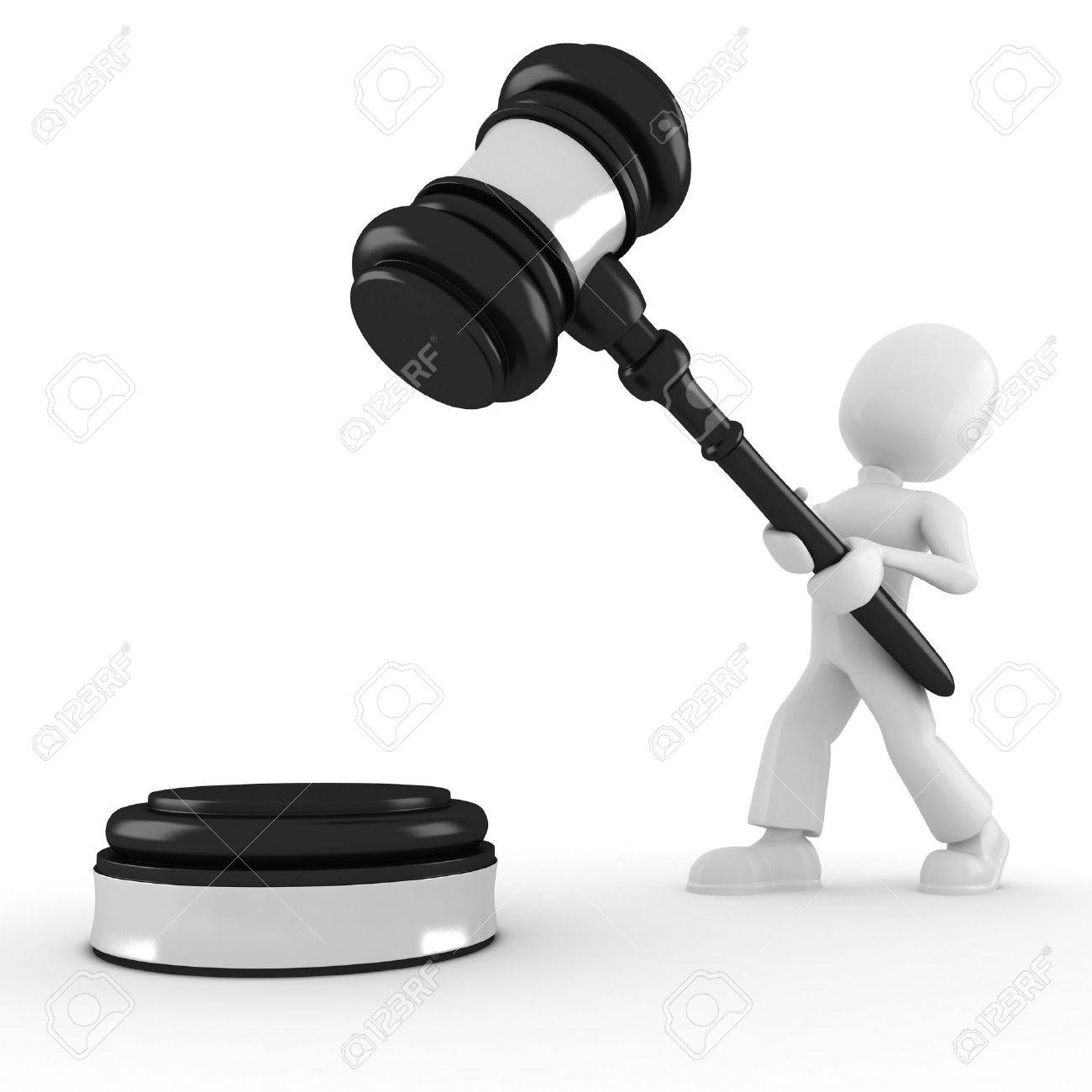 3d man holding a big gavel, isolated on white Stock Photo - 8165232