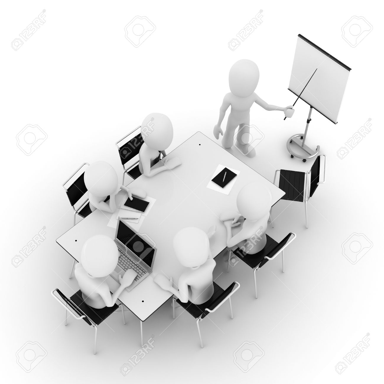 3d man, business meeting, isolated on white Stock Photo - 8161297