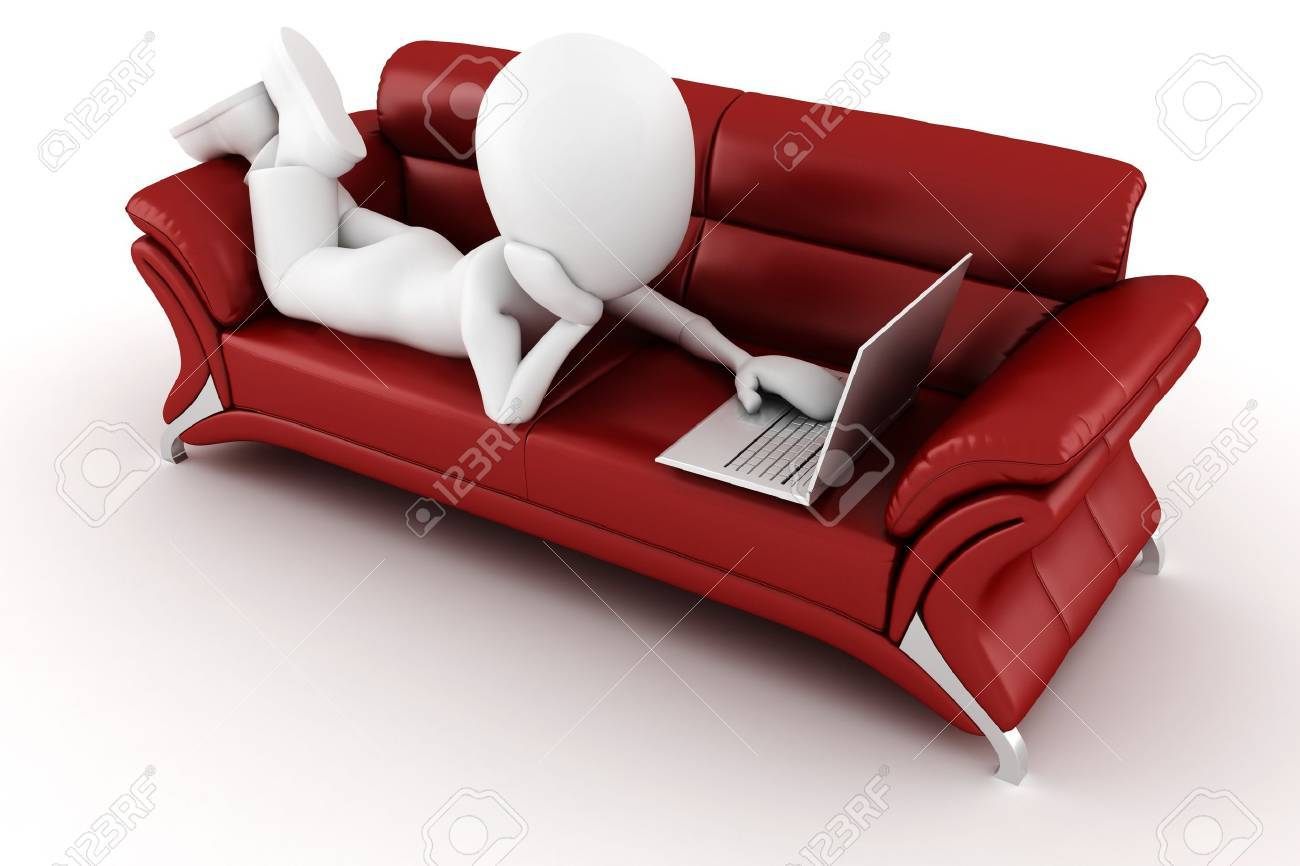 3d man with laptop sitting on a red sofa Stock Photo - 8164702