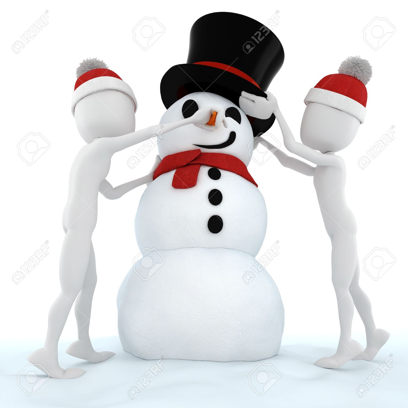 3d man and a funny snow man Stock Photo - 8164697