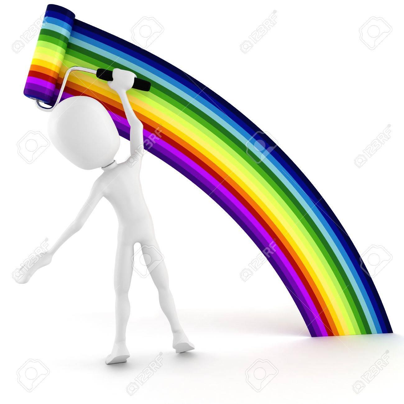 3d man painting a rainbow Stock Photo - 8161286