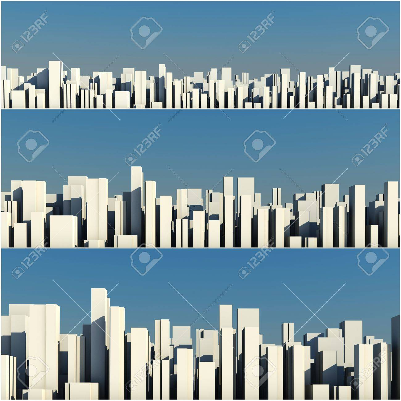 3d skyline of a crowd city, aerial view Stock Photo - 8164683
