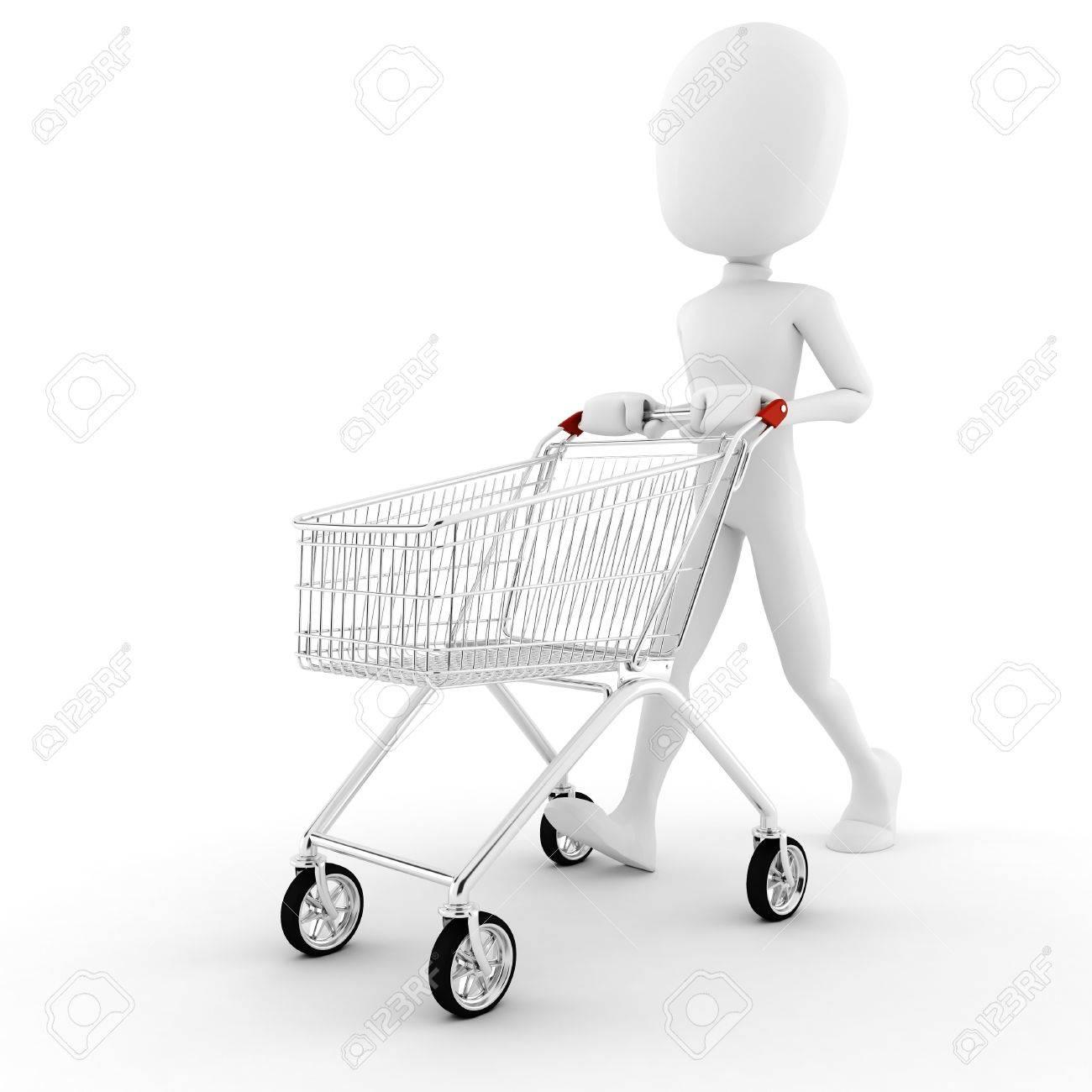 3d man pusing a shopping cart Stock Photo - 8557811