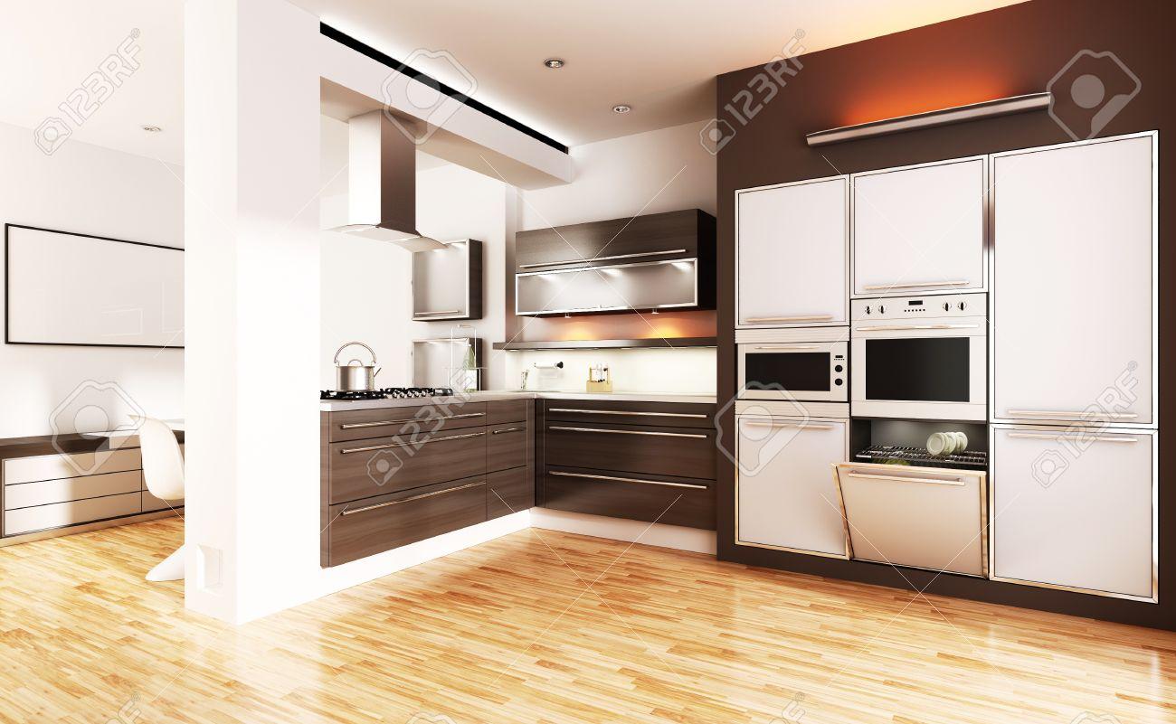Modern Kitchen Interior 3d Modern Kitchen Interior Render Stock Photo Picture And