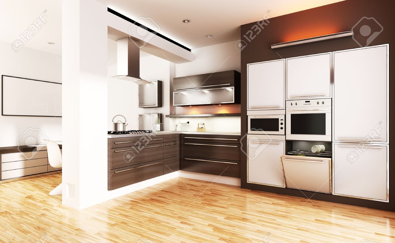 3d modern kitchen - interior render Stock Photo - 8805720