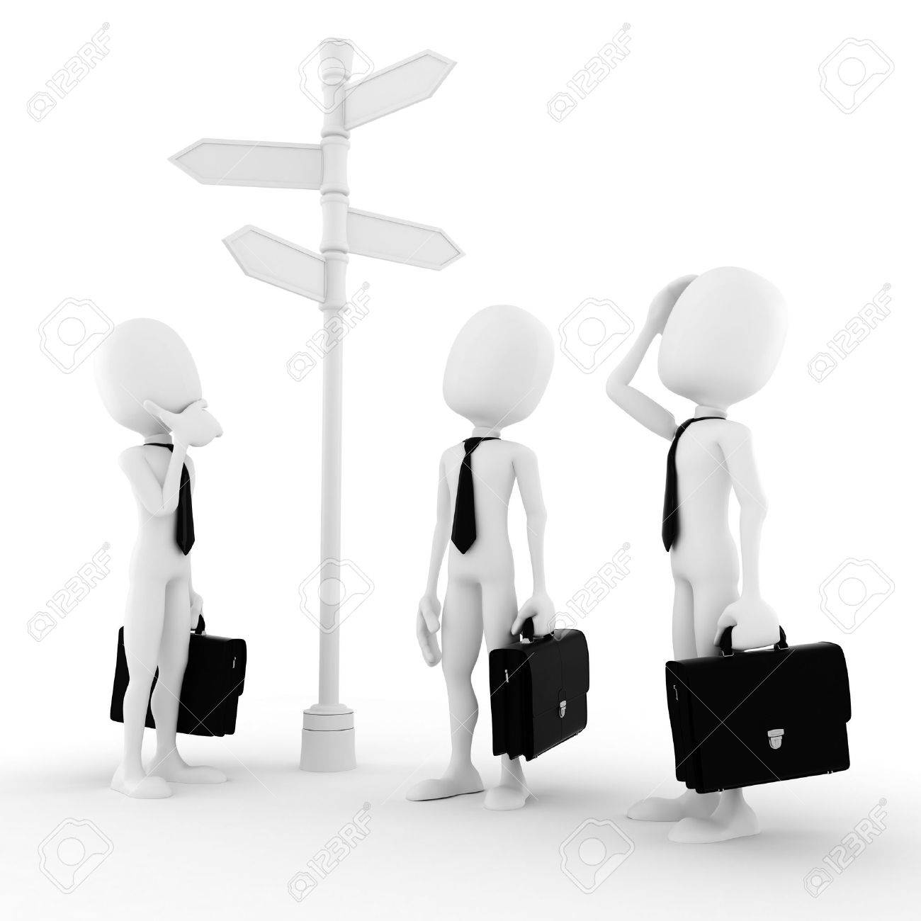 3d man looking for the right path to success Stock Photo - 9029130
