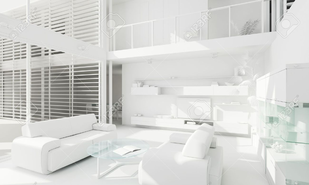3d Clay Render Of A Modern Interior Design Stock Photo Picture And