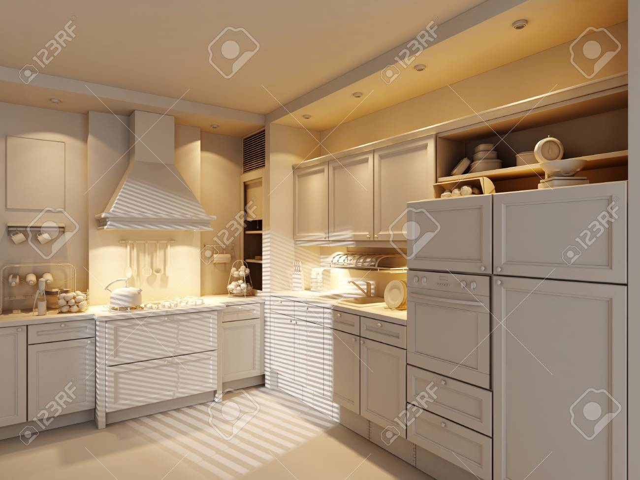 3d clay rander of a modern kitchen Stock Photo - 9029225