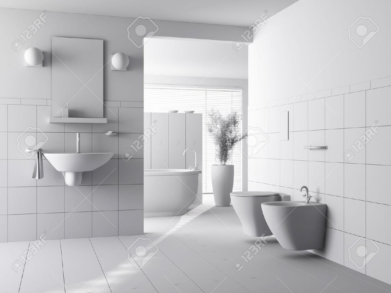 Modern Bathroom Interior Design 3d clay render of a modern bathroom interior design stock photo