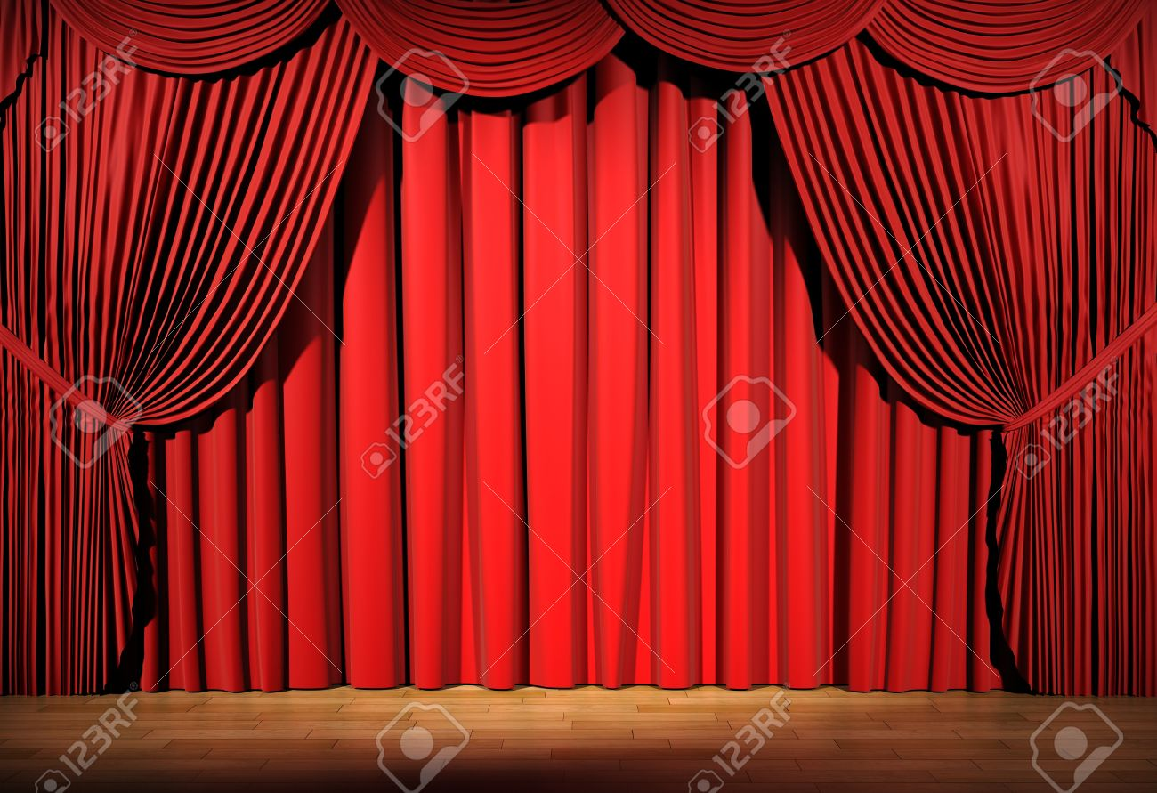 Red stage curtains - Real Red Velvet Curtain Real Red Stage Curtain 3d Stage Render Red Curtain Stock Photo