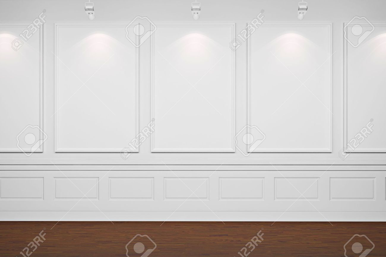 White Wall Frames 3d blank frames on white walls stock photo, picture and royalty