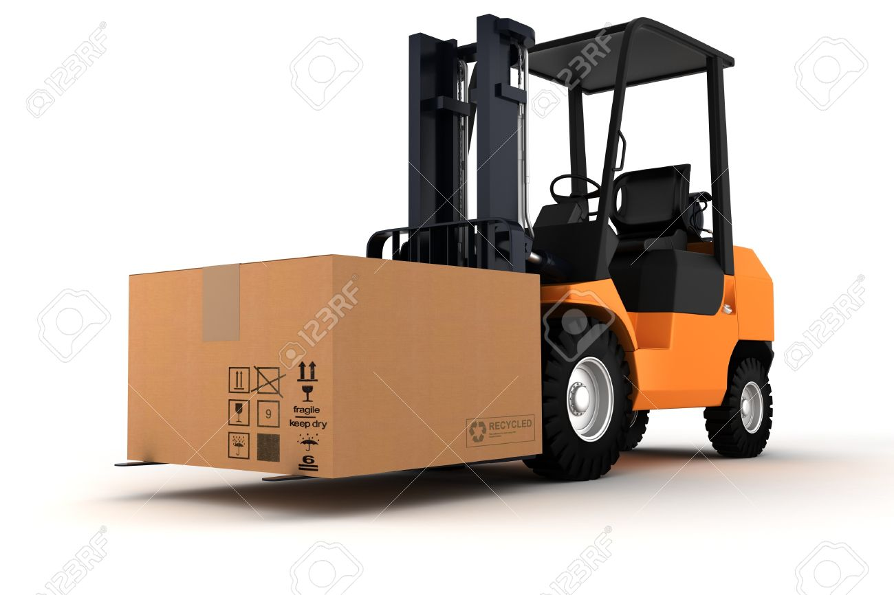 3d Forklift And A Big Cardboard Box Stock Photo, Picture And ...