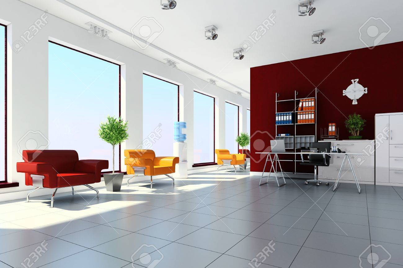 3d Modern Office Interior Design Stock Photo   9502015