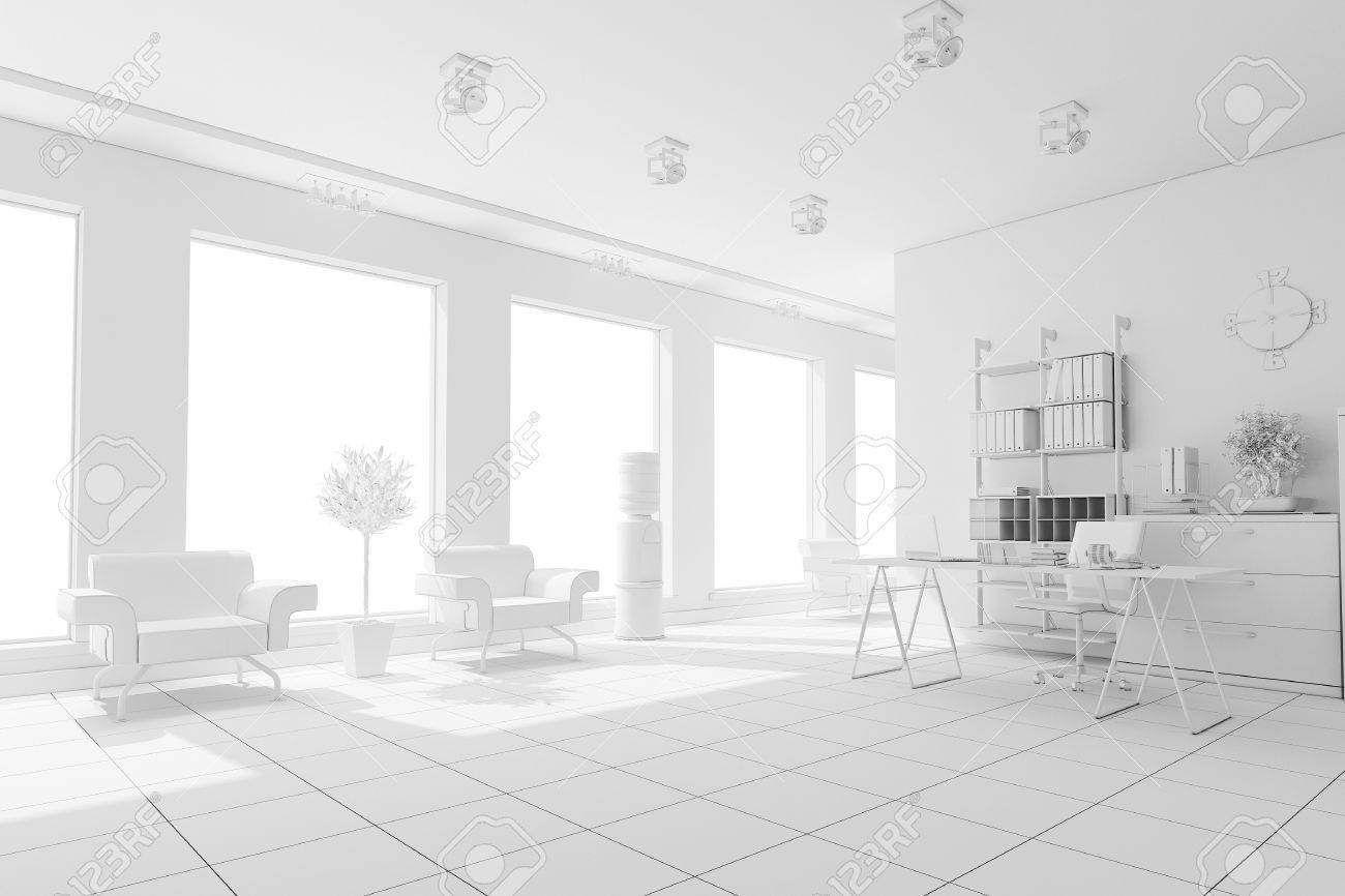 3d Modern Office Interior Design Stock Photo