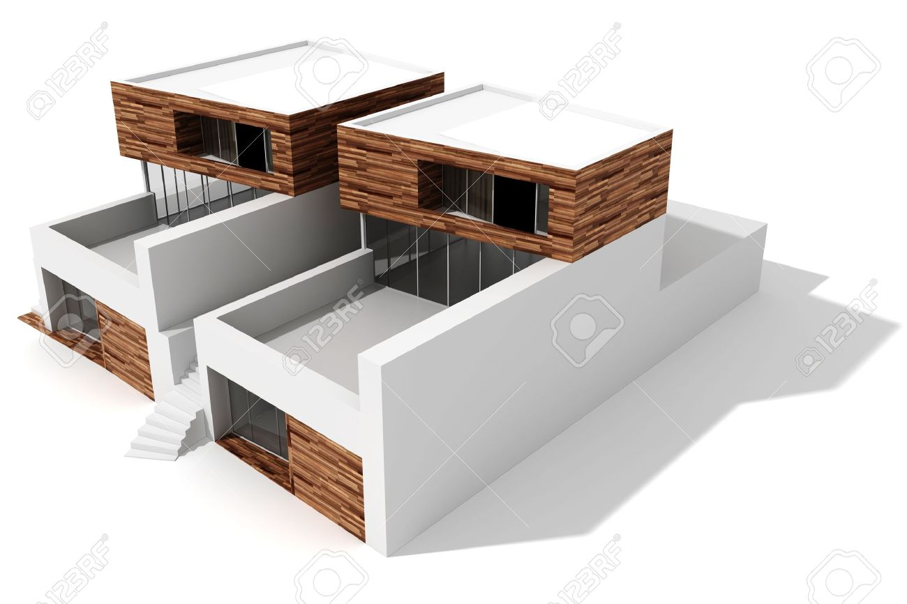 3d modern house on white background stock photo 9624576