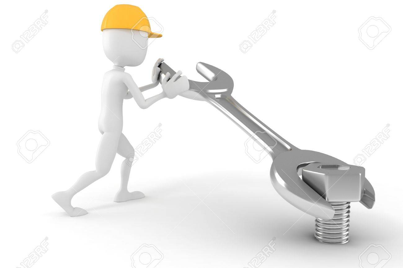 3d man worker, isolated on white background Stock Photo - 9669542