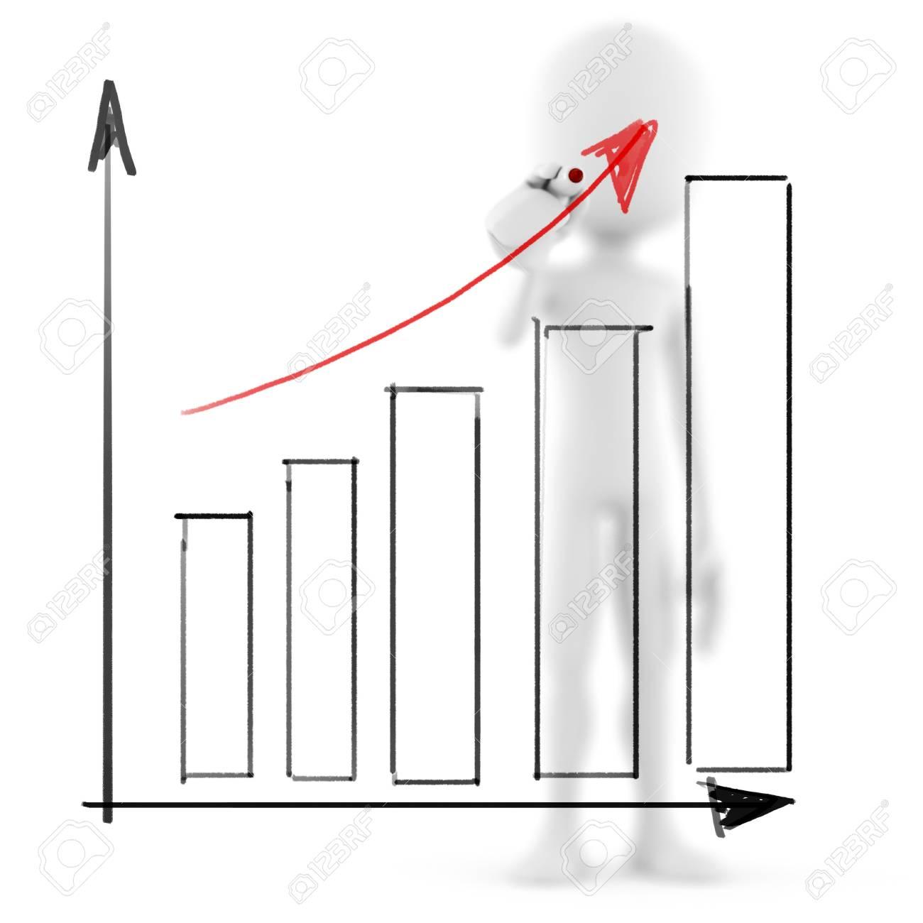 3d man business man drawing a   graph Stock Photo - 9980909