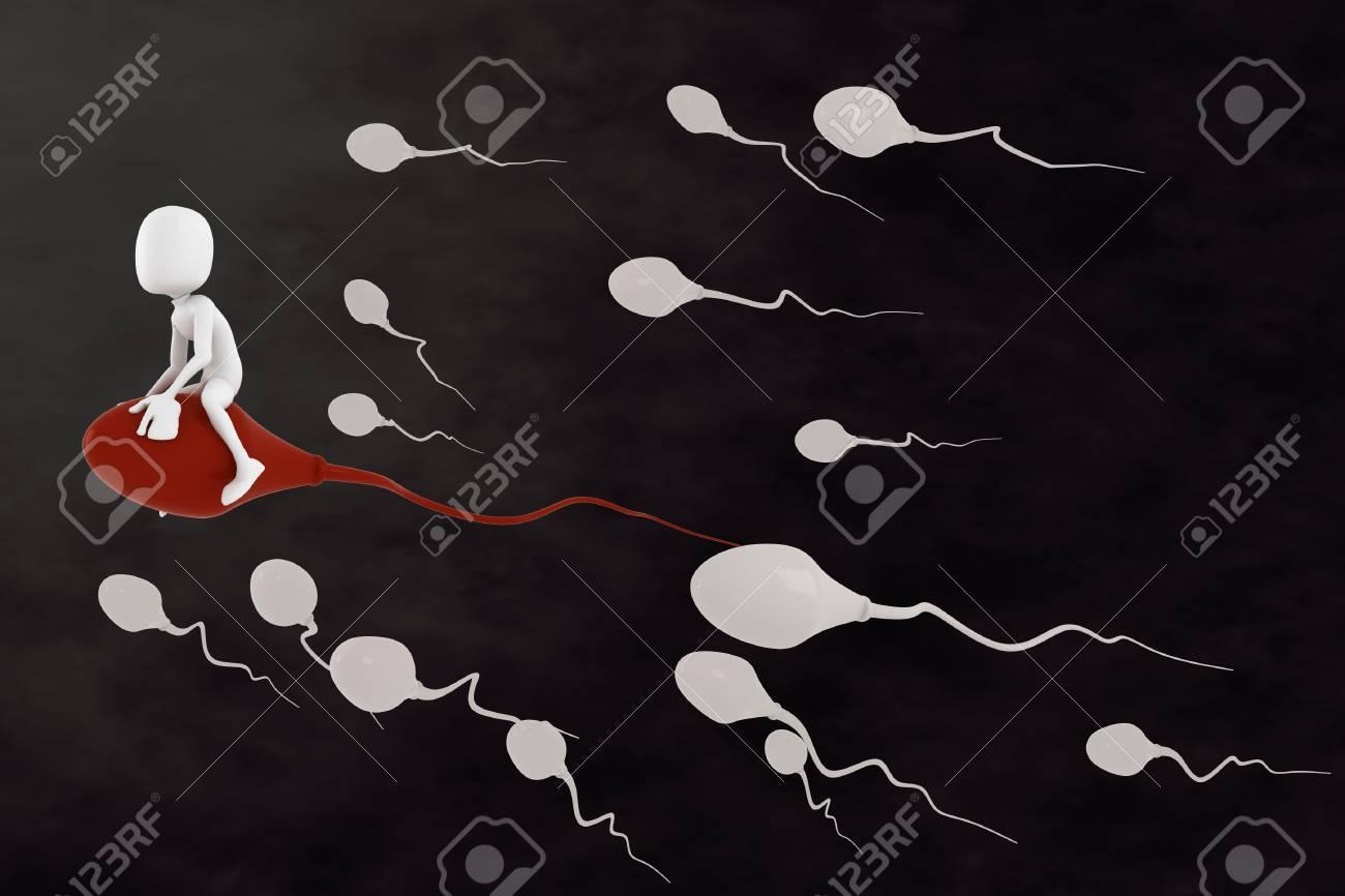 3d man riding a sperm cell Stock Photo - 10135802