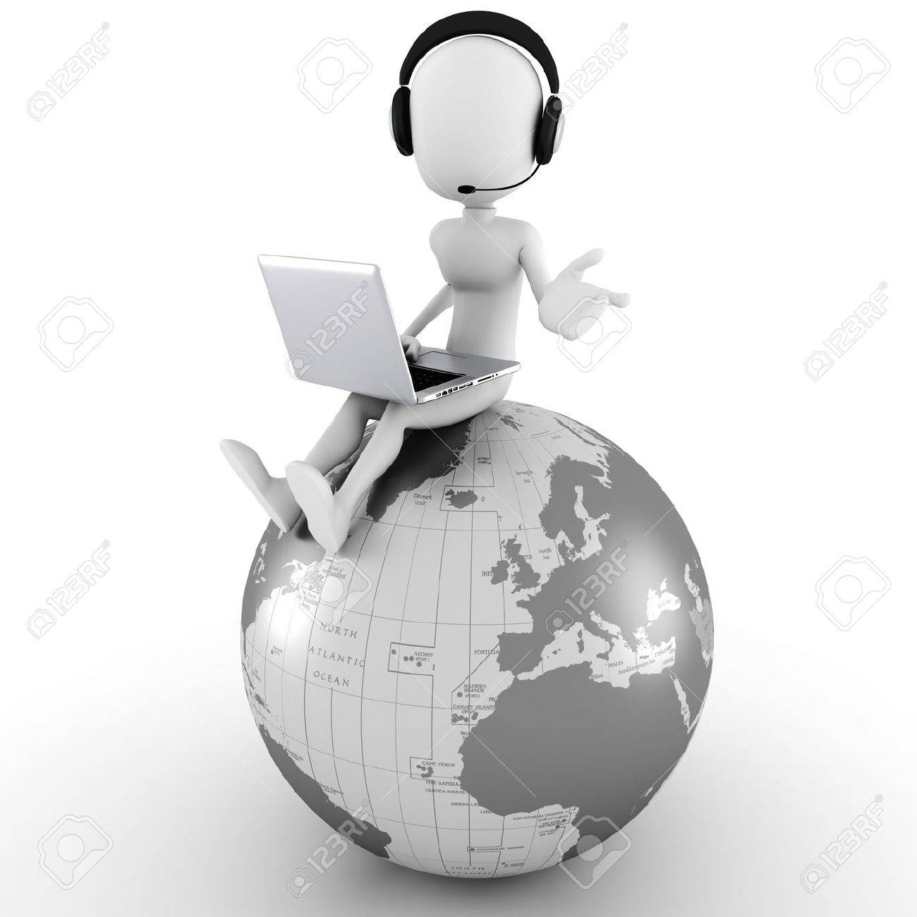 3d man online call center Stock Photo - 10965144