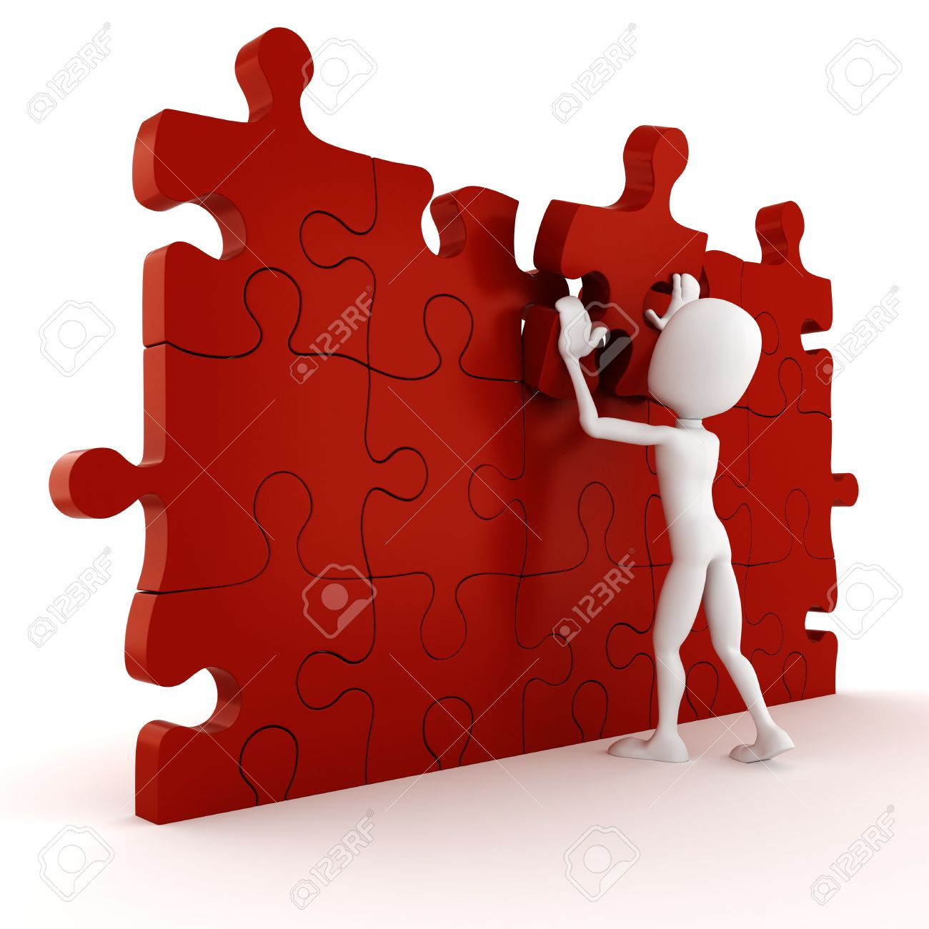 3d man completing a puzzle on white background stock photo picture