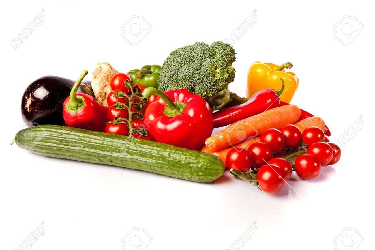 fresh healthy vegetables on white background Stock Photo - 11350503