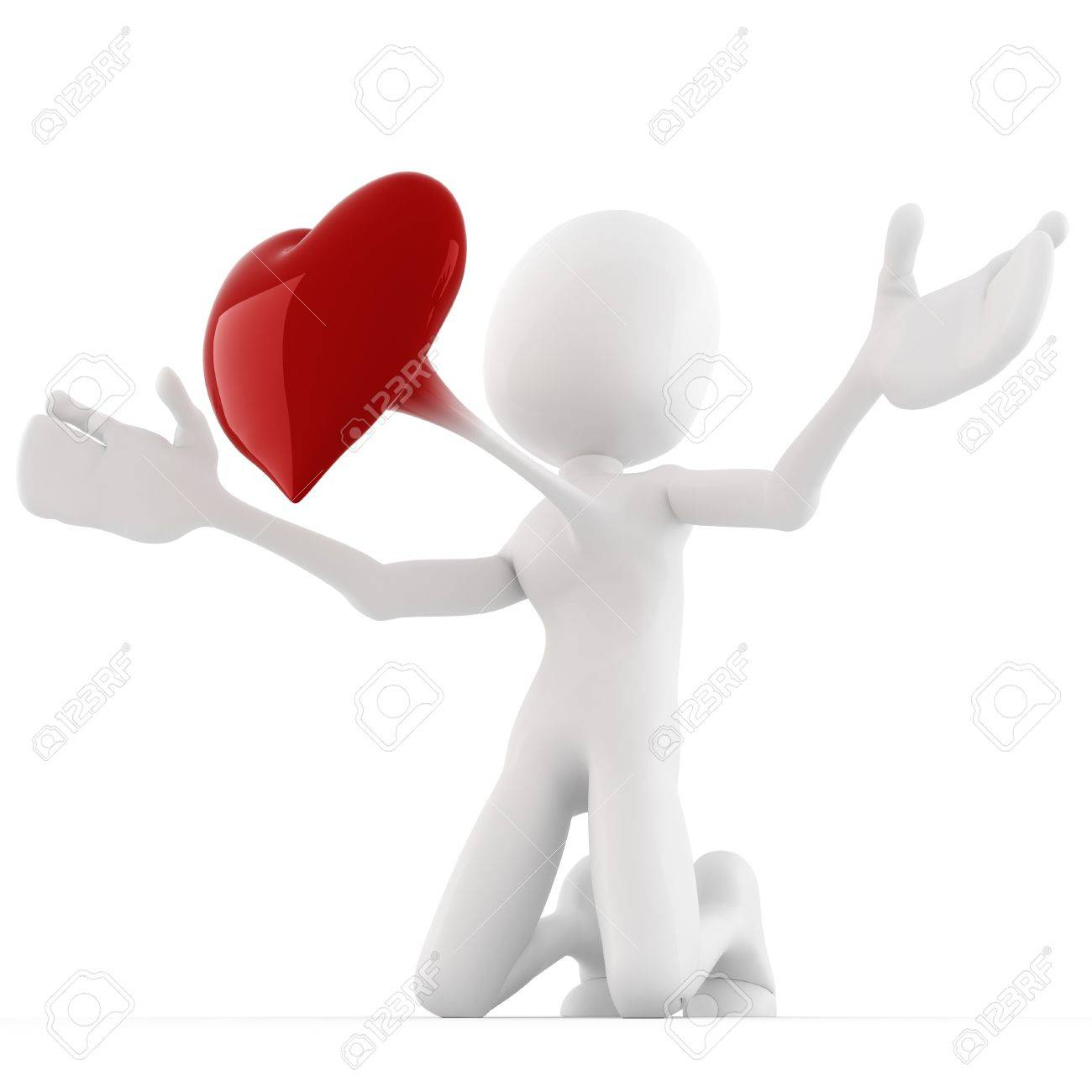 3d man with a big red heart, Valentine concept Stock Photo - 11909566