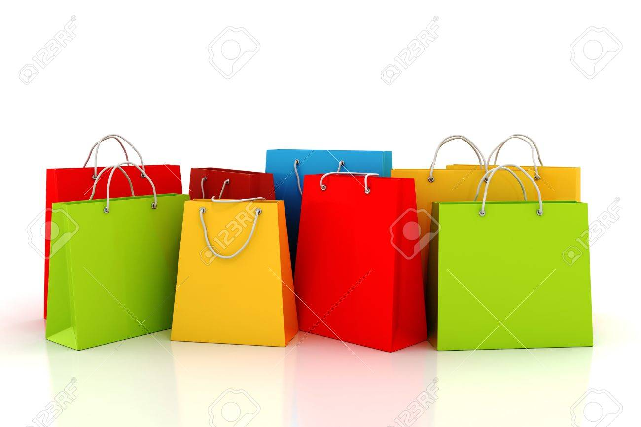 3d Empty Shopping Bag, On White Background Stock Photo, Picture ...