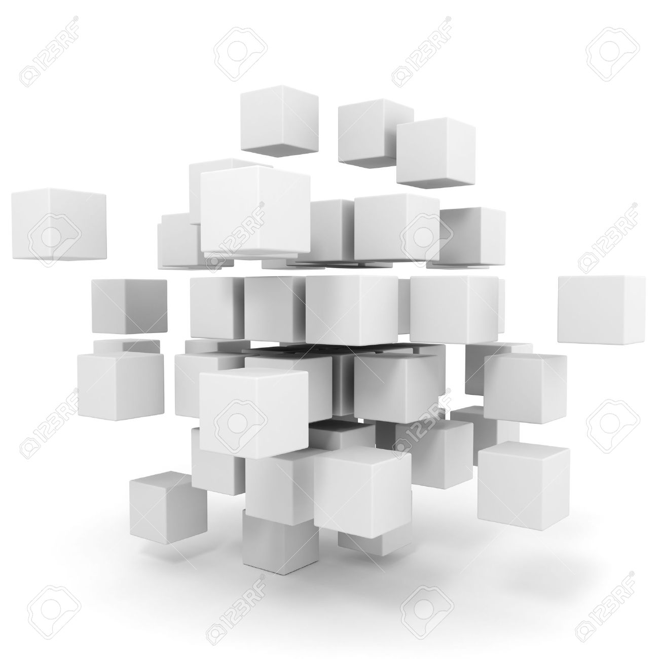 3d Cubes Puzzle On White Background Stock Photo, Picture And ...