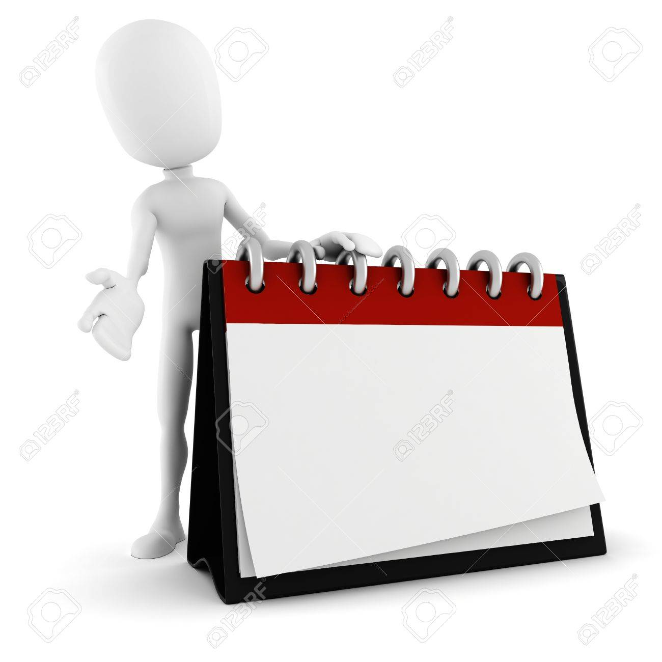 3d man standing near a blank calendar Stock Photo - 12748834