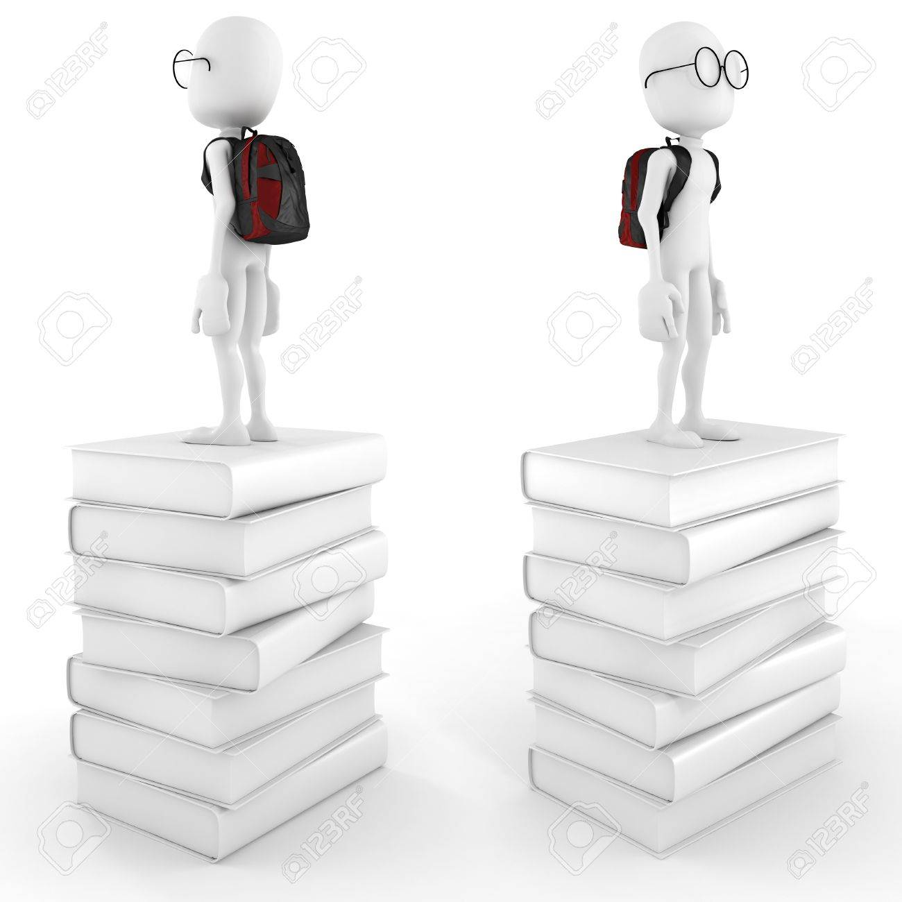 3d man on a pile of books Stock Photo - 12840598