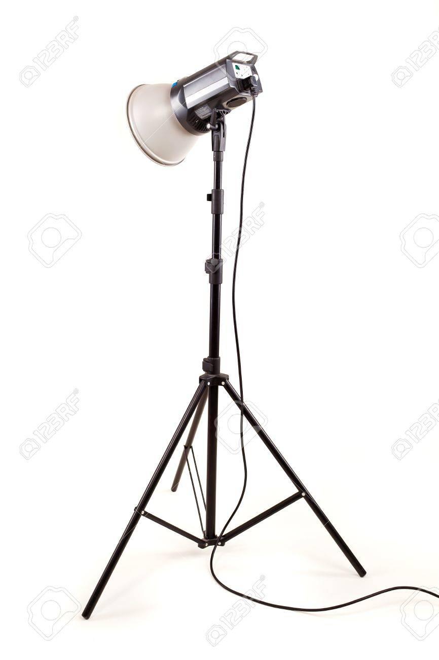 studio monoblock flash light on tripod isolated on white background Stock Photo - 13010055