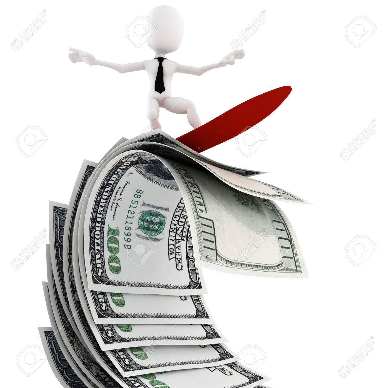 3d man surfing on money Stock Photo - 13119051
