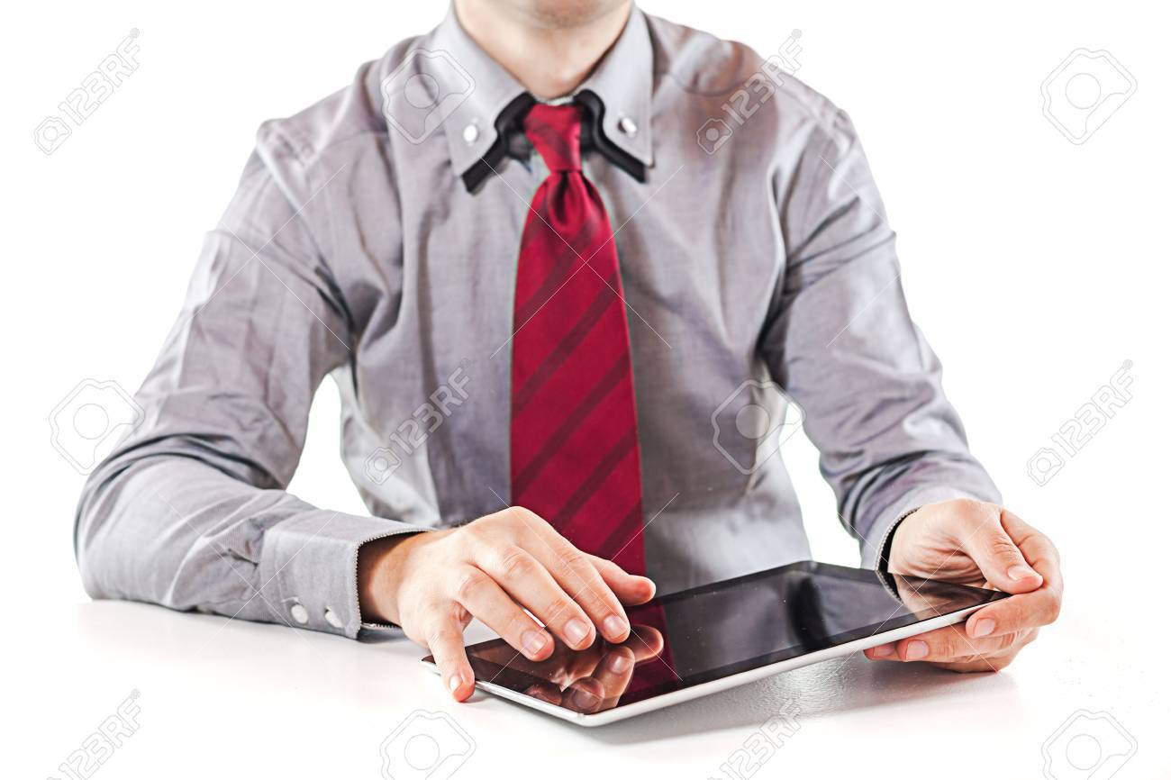 young  business man executive using a digital pc tablet Stock Photo - 15731017