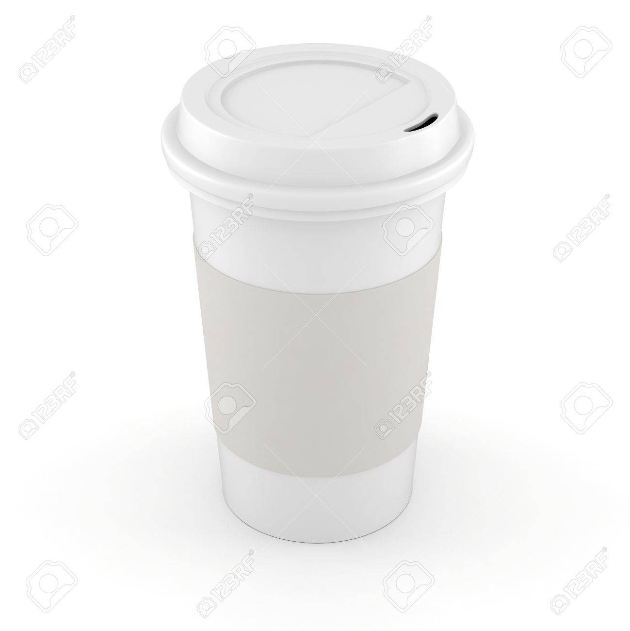 3d coffee paper cup on white background Stock Photo - 16811167