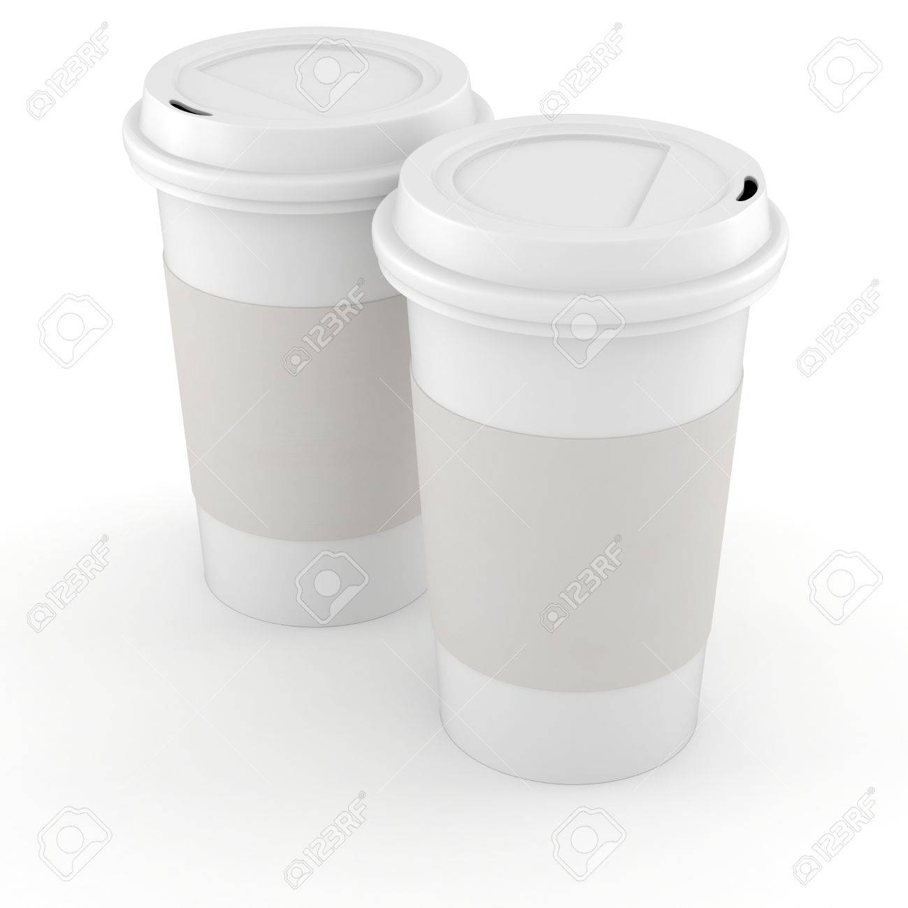 3d coffee paper cup on white background Stock Photo - 16811173