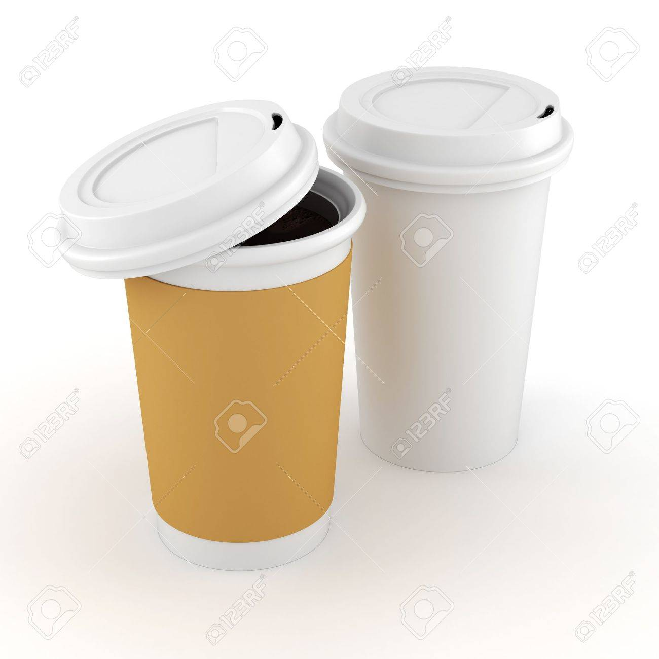 3d coffee paper cup on white background Stock Photo - 16811169