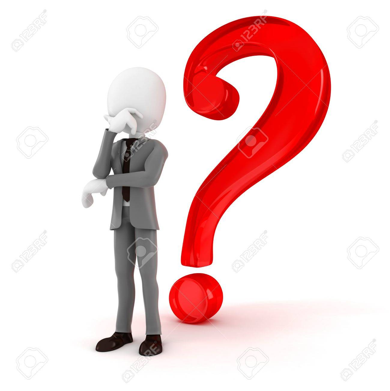 3d man businessman and a big question mark, on white Stock Photo - 18021345