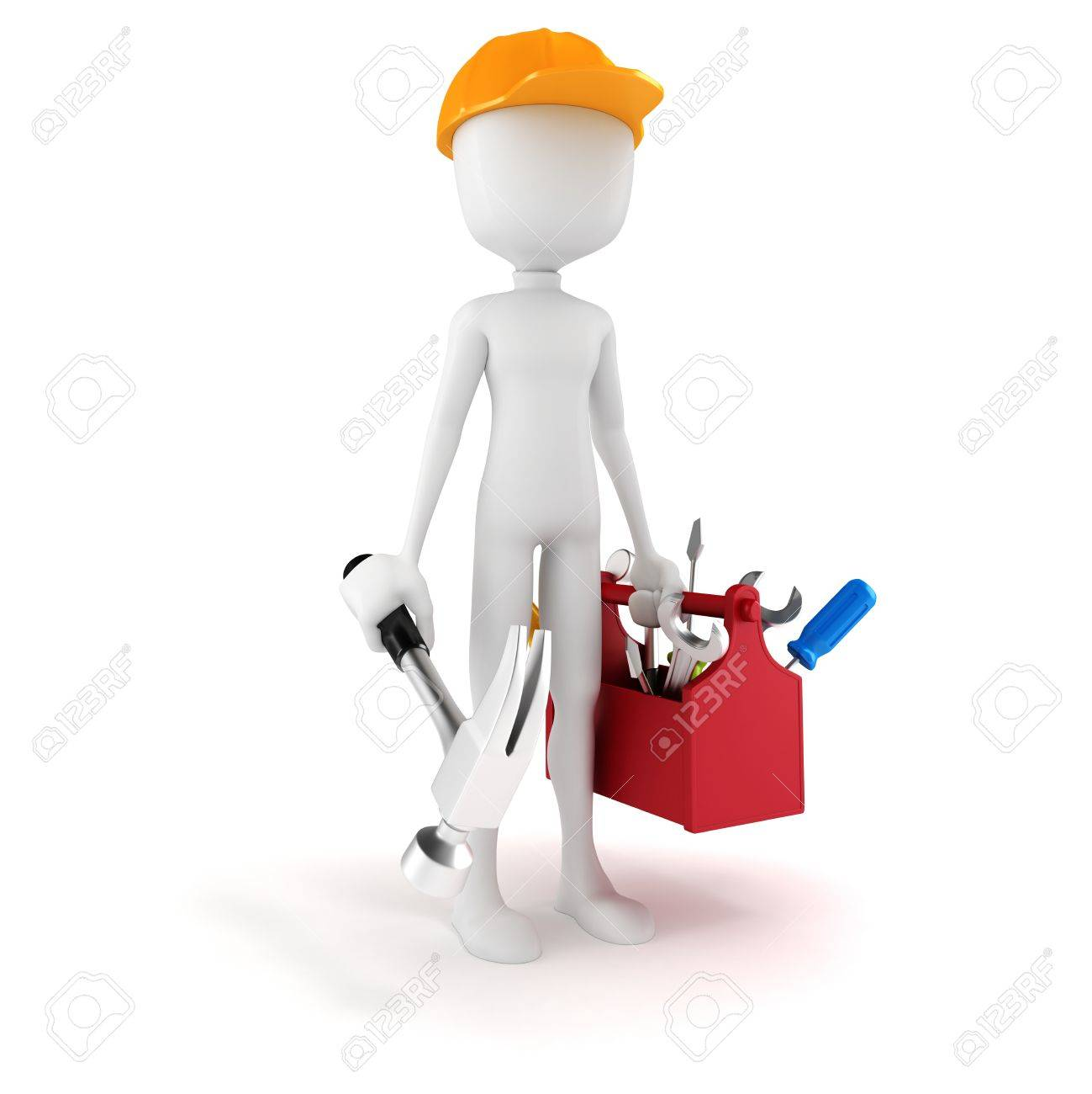 3d man with tools box on white background Stock Photo - 18593578