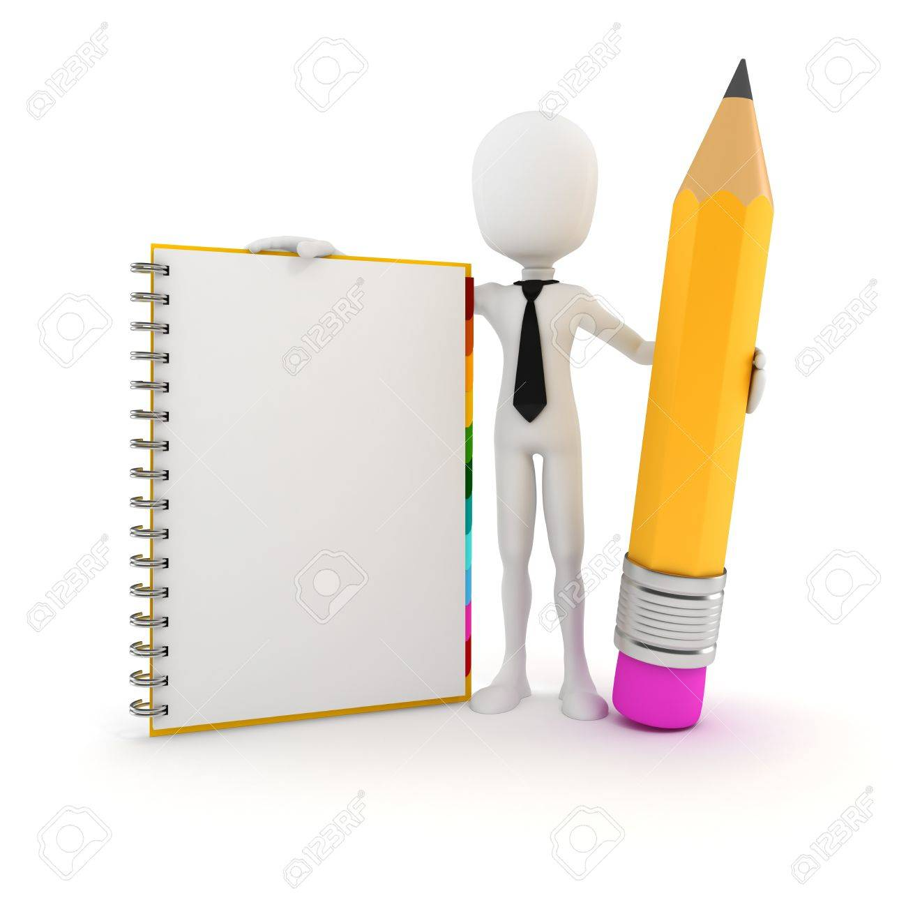 3d man with clipboard and pencil on white background Stock Photo - 20170242