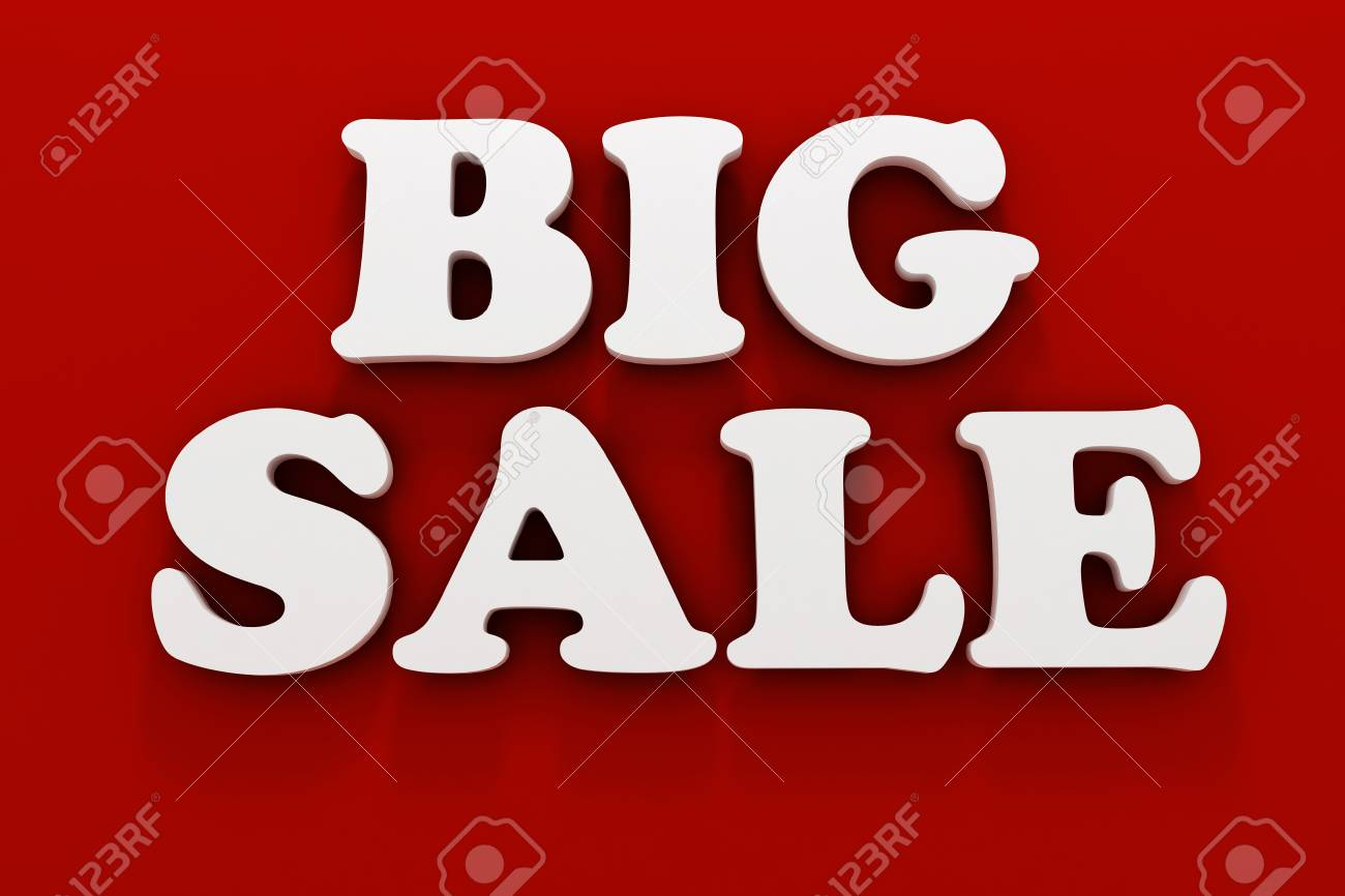 3d BIG SALE text on white background Stock Photo - 20836206