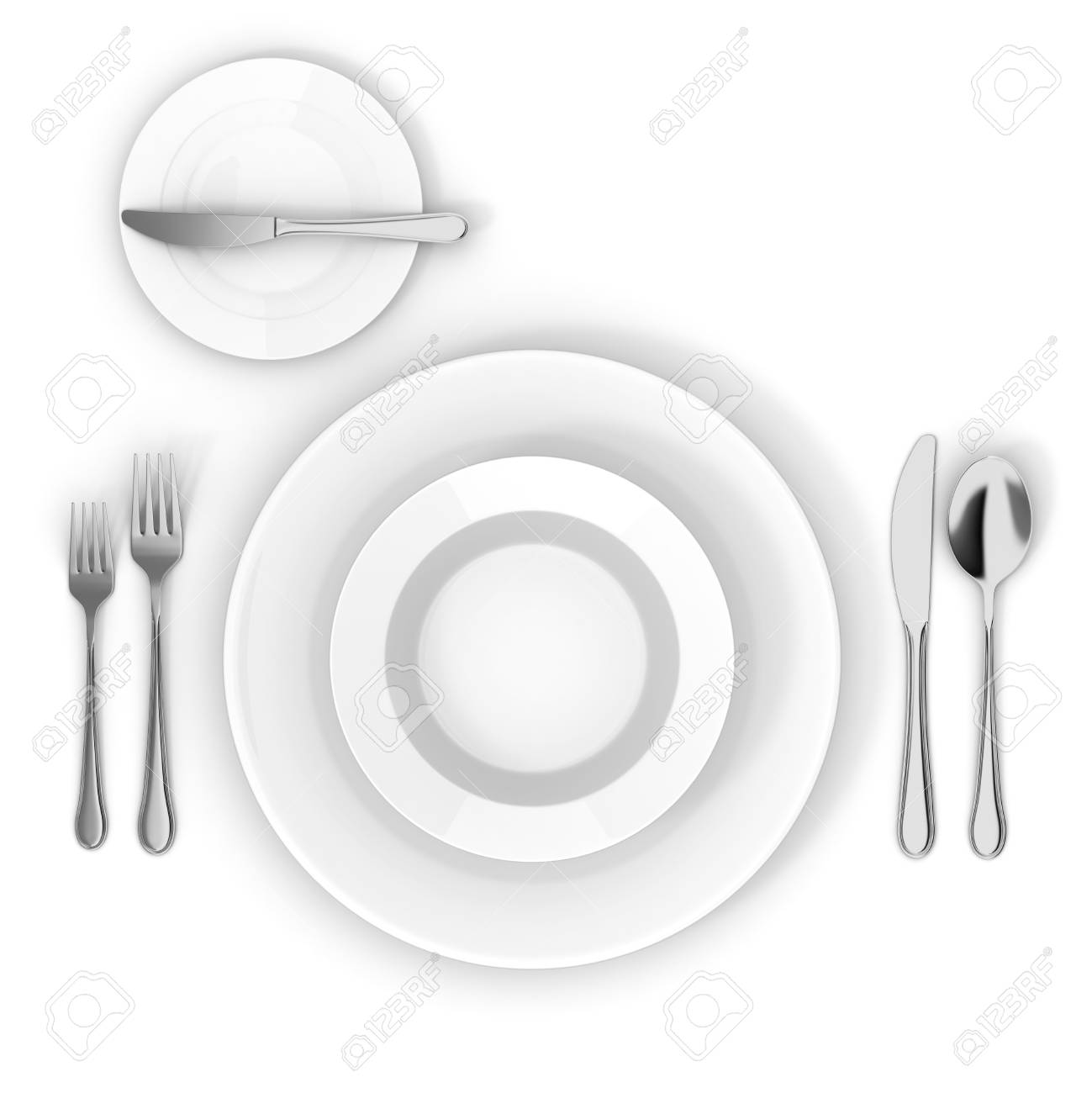 3d Table Setting With White Empty Plate, Fork Knife And Spoon Stock ...