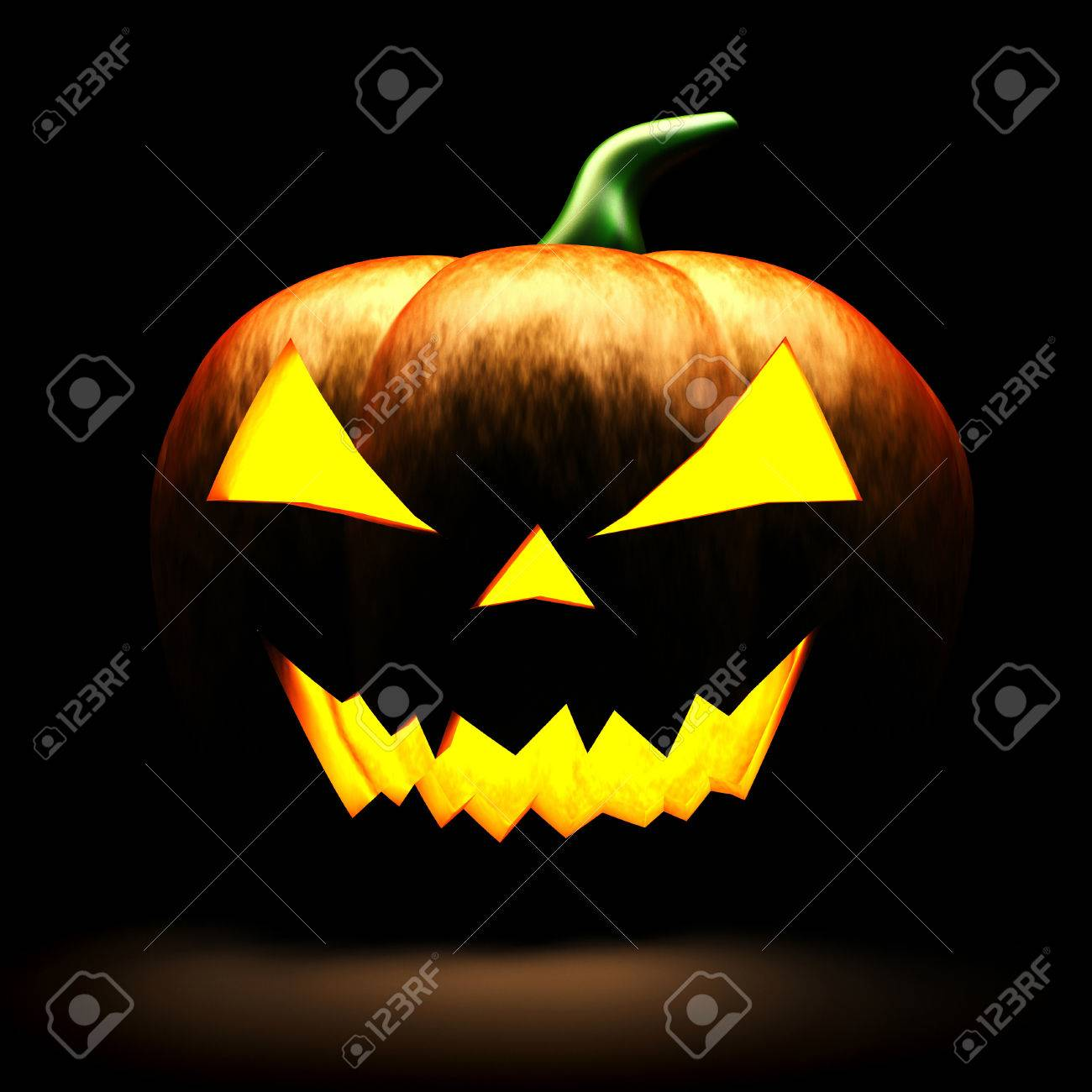 3d scary halloween pumpkin on black background stock photo
